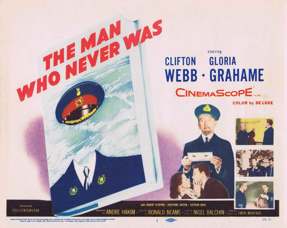 THE MAN WHO NEVER WAS Title Lobby Card Clifton Webb Gloria Grahame Robert Flemyng