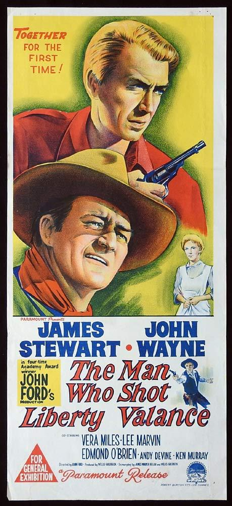 THE MAN WHO SHOT LIBERTY VALANCE Original Daybill Movie Poster John Wayne James Stewart