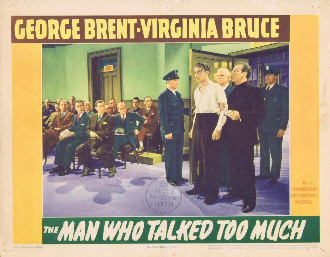 THE MAN WHO TALKED TOO MUCH Lobby Card 4 George Brent Virginia Bruce Brenda Marshall