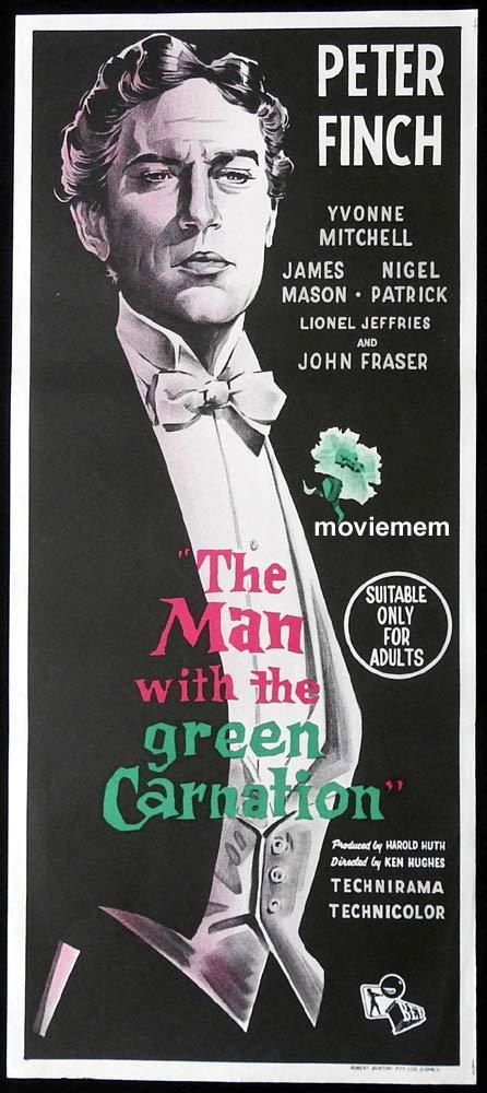 THE MAN WITH THE GREEN CARNATION Original Daybill Movie Poster Peter Finch Oscar Wilde