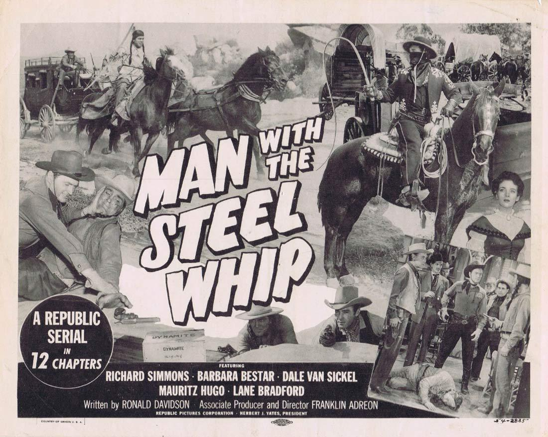 MAN WITH THE STEEL WHIP Original Ttile Lobby Card Republic Serial Richard Simmons