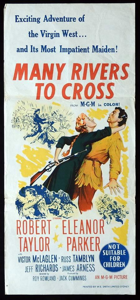 MANY RIVERS TO CROSS Original daybill Movie Poster Robert Taylor Eleanor Parker Victor McLaglen