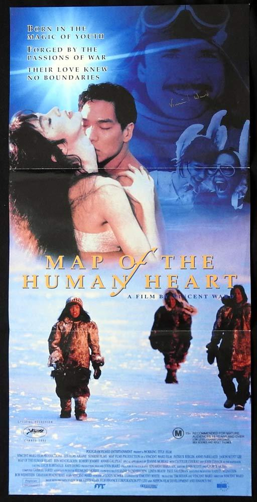 MAP OF THE HUMAN HEART Original Daybill Movie poster AUTOGRAPHED by Vincent Ward