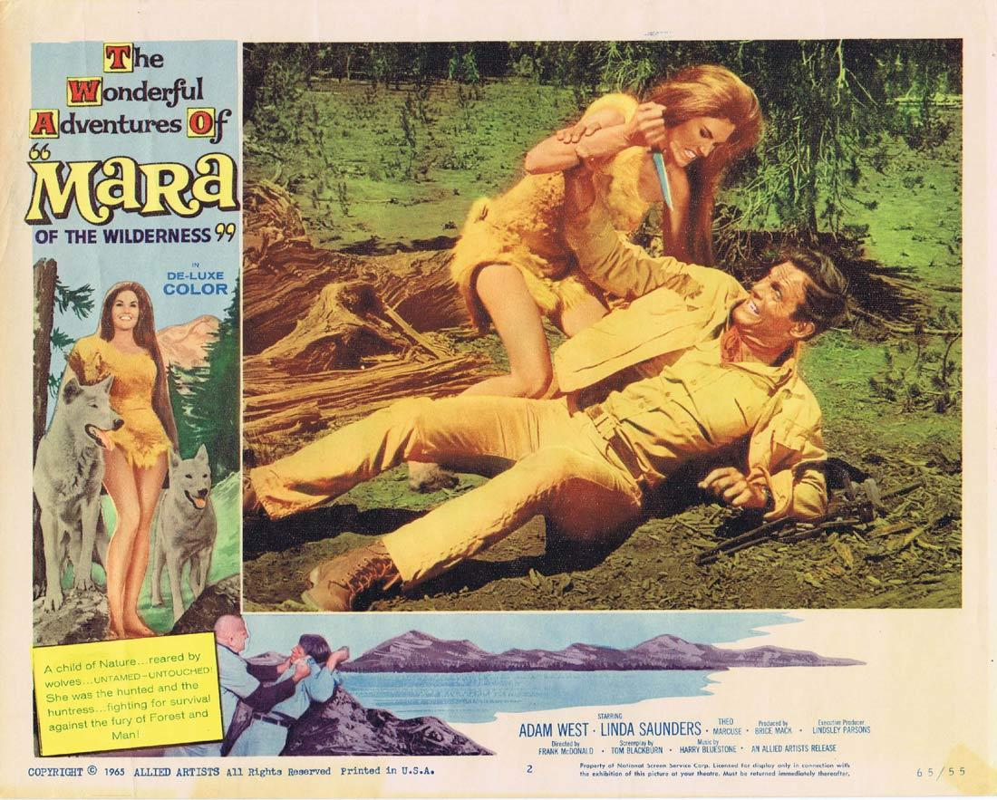 MARA OF THE WILDERNESS Lobby Card 2 Adam West Lori Saunders Theodore Marcuse