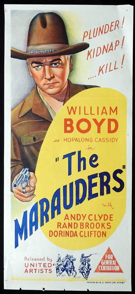 THE MARAUDERS Original Daybill Movie poster William Boyd Hopalong Cassidy
