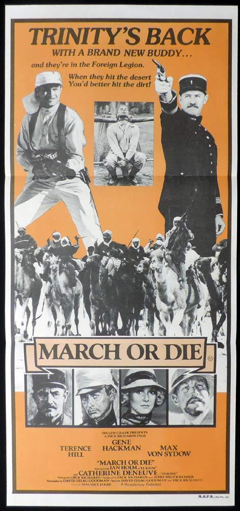 MARCH OR DIE Original Daybill Movie poster Terence Hill