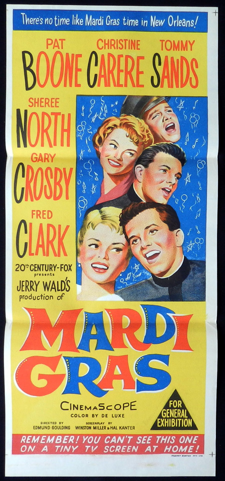 MARDI GRAS Original Daybill Movie Poster Pat Boone Christine Carere