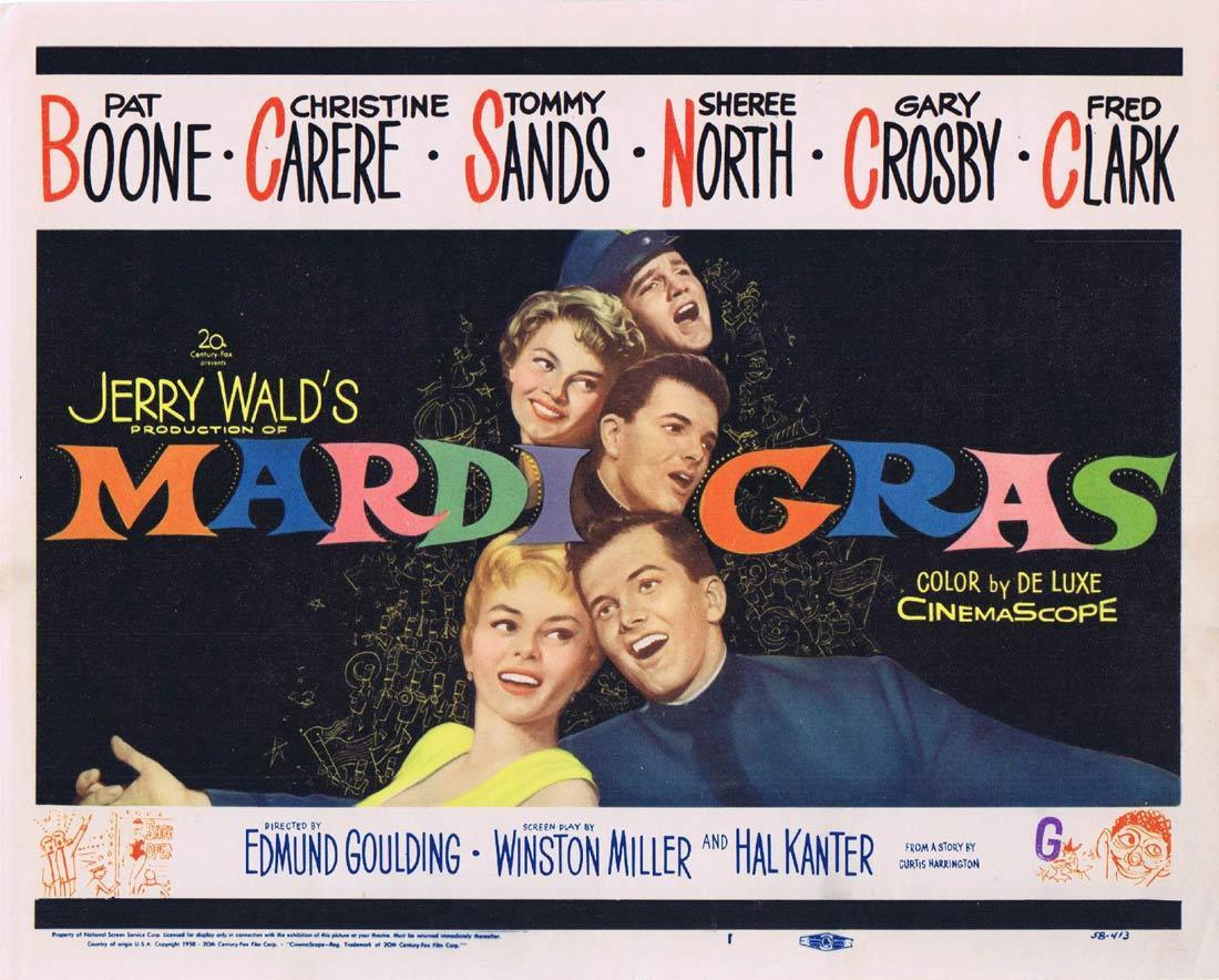 MARDI GRAS Title Lobby Card Pat Boone Christine Carere
