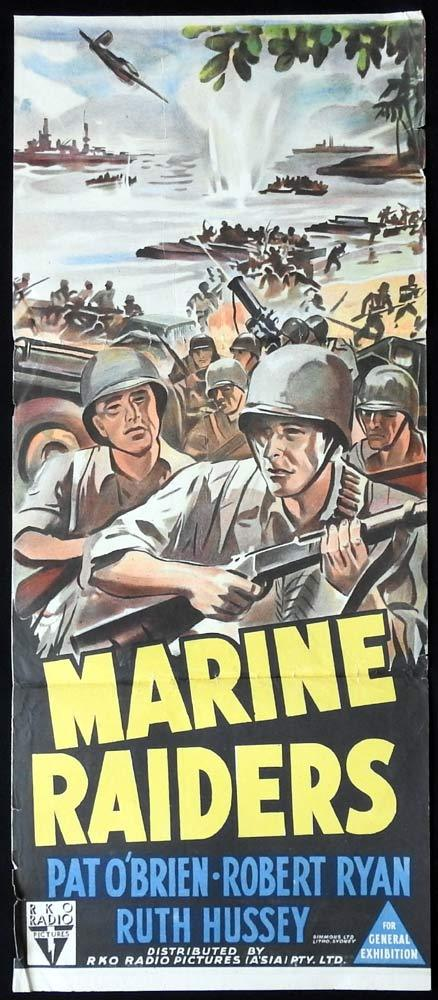 MARINE RAIDERS Original Daybill Movie poster Pat O'Brien Robert Ryan