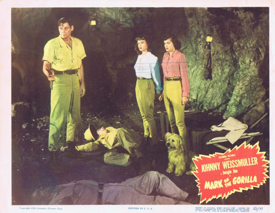 MARK OF THE GORILLA 1950 Lobby Card 3 Johnny Weissmuller