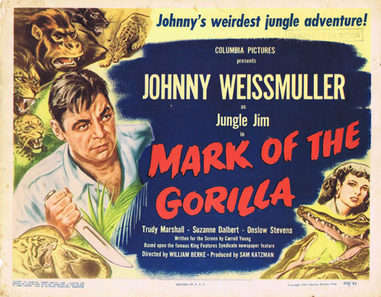 MARK OF THE GORILLA 1950 Title Lobby Card Johnny Weissmuller