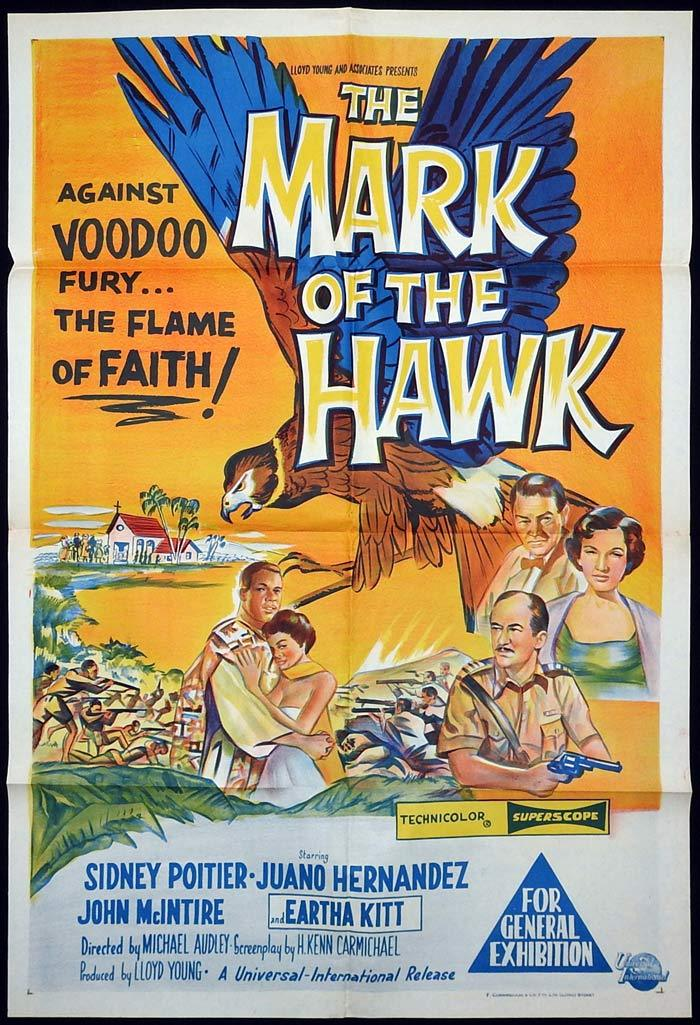 The MARK OF THE HAWK Original One sheet Movie poster Sidney Poitier Eartha Kitt Voodoo