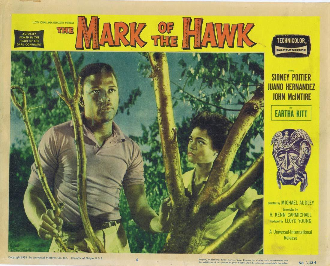 MARK OF THE HAWK Original Lobby Card 6 Eartha Kitt Sidney Poitier