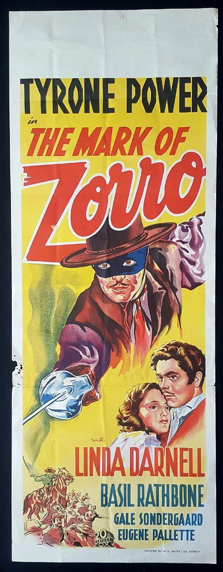 THE MARK OF ZORRO Long Daybill Movie poster Tyrone Power Linda Darnell Basil Rathbone