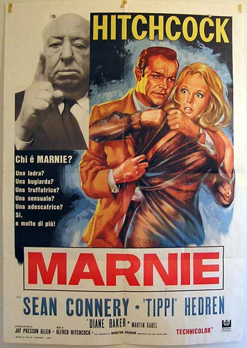 MARNIE 70S Release Italian HITCHCOCK CONNERY 2sh poster