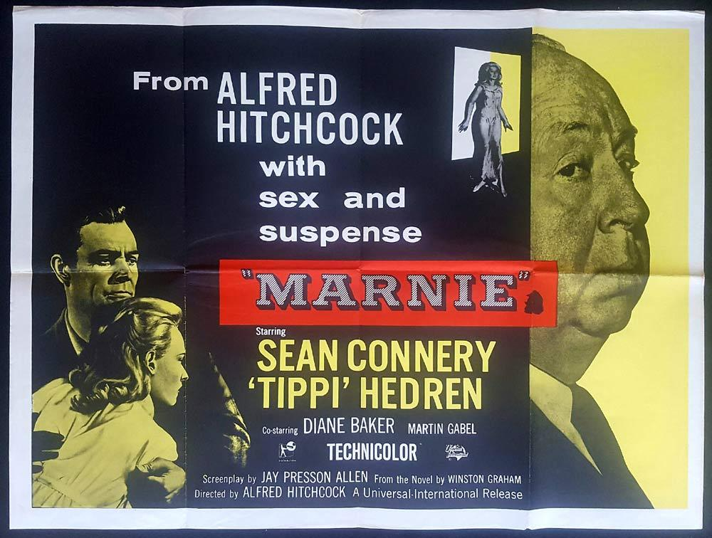MARNIE Original 1970s British Quad Movie poster Sean Connery Tippi Hedren
