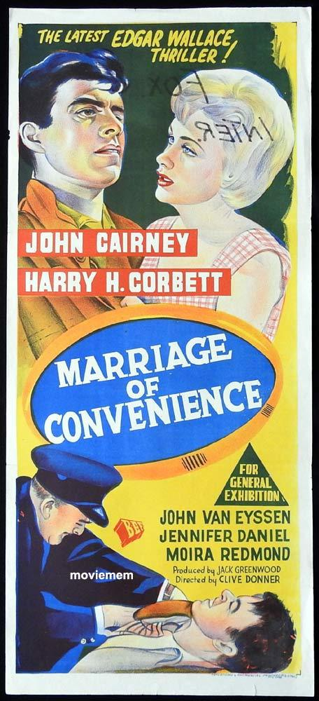 MARRIAGE OF CONVENIENCE Original Daybill Movie Poster Edgar Wallace Harry H. Corbett