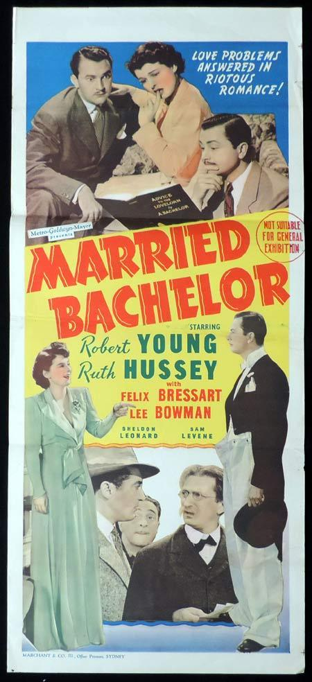 MARRIED BACHELOR Original Daybill Movie Poster Robert Young Ruth Hussey Marchant Art