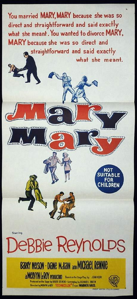 MARY MARY Original Daybill Movie Poster Debbie Reynolds Barry Nelson Diane McBain