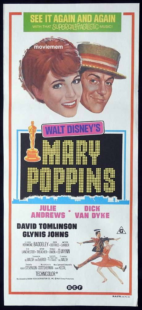 MARY POPPINS Original 1970sr Daybill Movie Poster Julie Andrews Dick Van Dyke