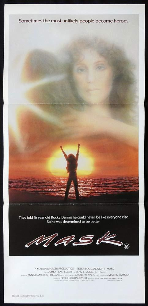 MASK Original Daybill Movie Poster Eric Stolz Sam Elliott CHER Peter Bogdanovich