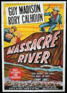 MASSACRE RIVER Original One sheet Movie Poster GUY MADISON Rory Calhoun