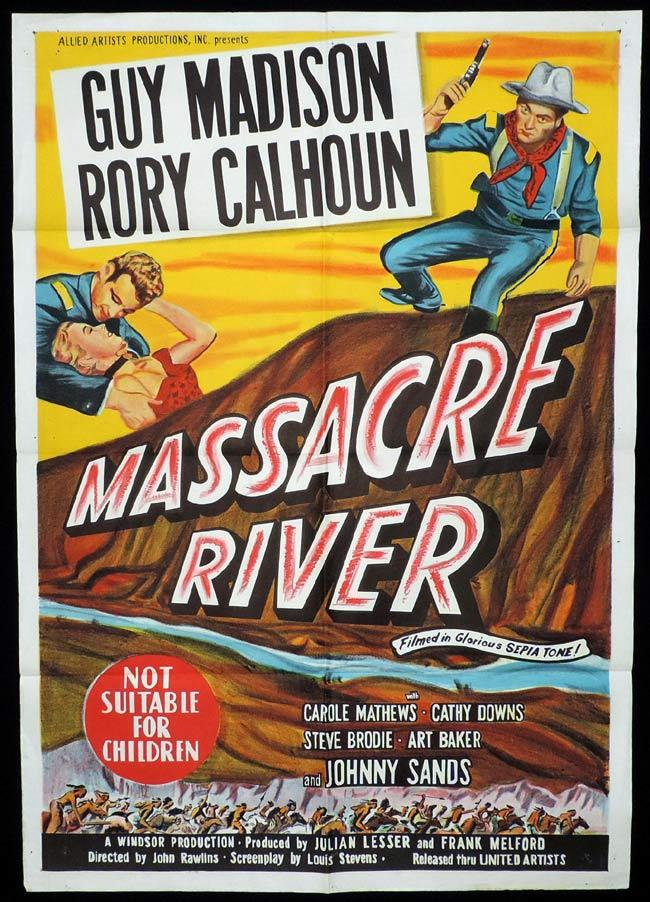 MASSACRE RIVER Original One sheet Movie Poster GUY MADISON Rory Calhoun