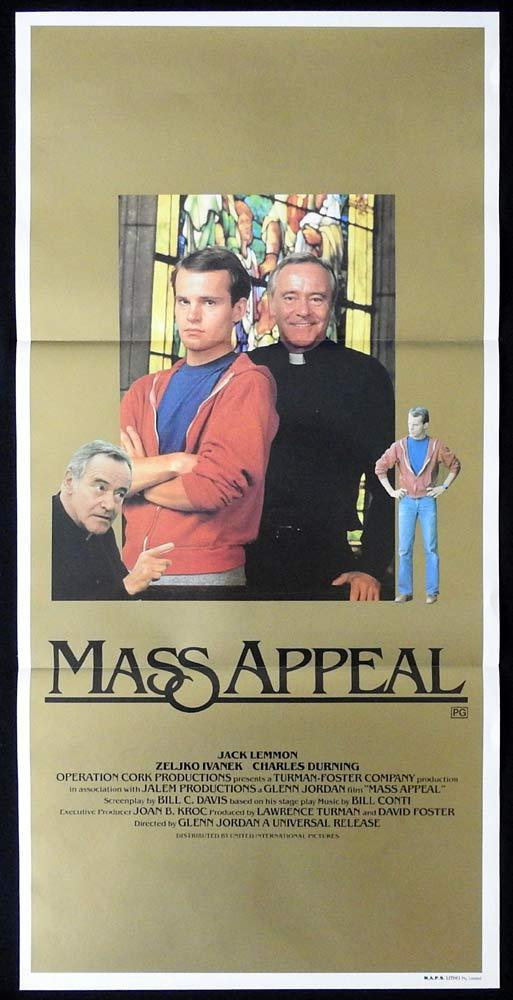MASS APPEAL Rare Daybill Movie Poster Jack Lemmon Zeljko Ivanek Charles Durning