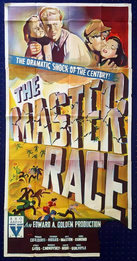 THE MASTER RACE Australian Three Sheet Movie poster RKO George Coulouris