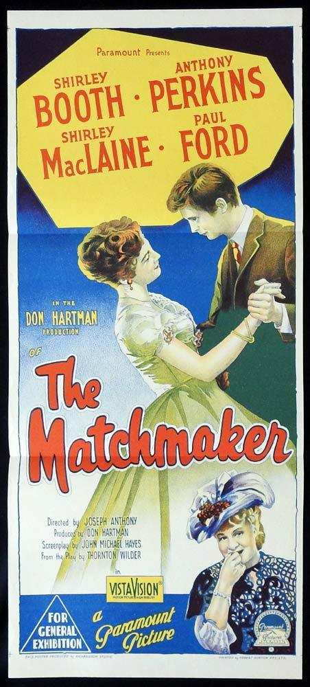 THE MATCHMAKER Original Daybill Movie poster Shirley Booth Anthony Perkins