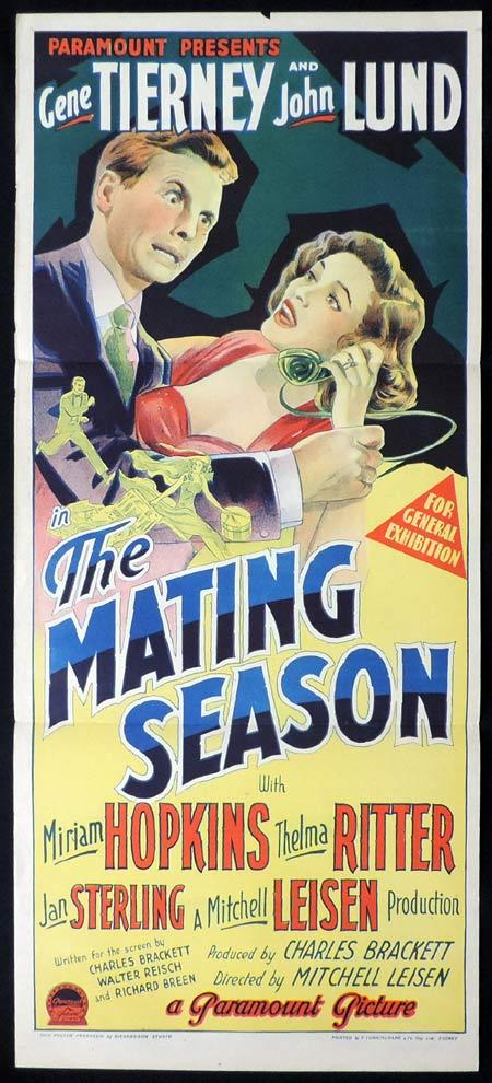 THE MATING SEASON Original Daybill Movie Poster GENE TIERNEY John Lund Richardson Studio