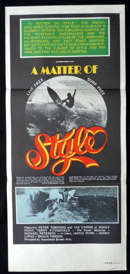 A MATTER OF STYLE Daybill Movie Poster 1976 SURFING