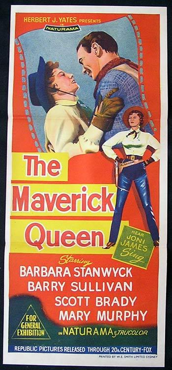 THE MAVERICK QUEEN Barbara Stanwyck Daybill Movie poster
