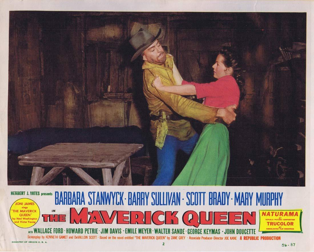 THE MAVERICK QUEEN Original Lobby Card 2 Barbara Stanwyck Barry Sullivan