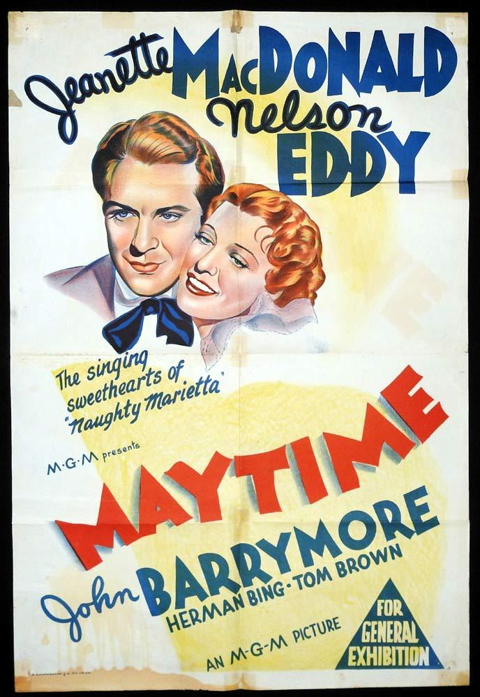 MAYTIME Original One sheet Movie Poster Nelson Eddy Jeanette MacDonald