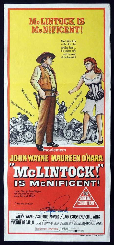 MCLINTOCK Original Daybill Movie Poster Stefanie Powers Autograph