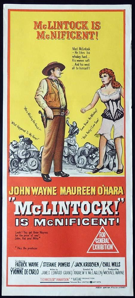 McLINTOCK Original Daybill Movie Poster JOHN WAYNE Maureen O'Hara Chill Wills