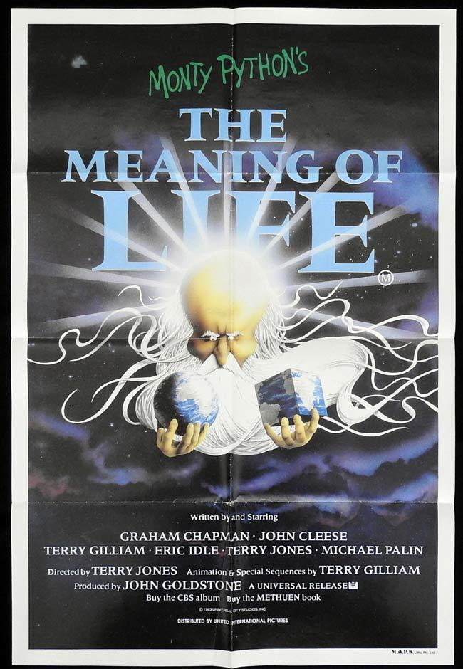 THE MEANING OF LIFE Original One sheet Movie poster Monty Python