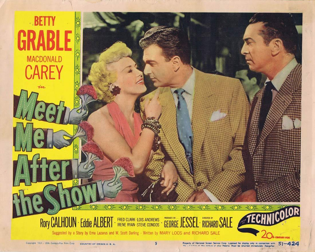 MEET ME AFTER THE SHOW Original Lobby Card Betty Grable Macdonald Carey Rory Calhoun