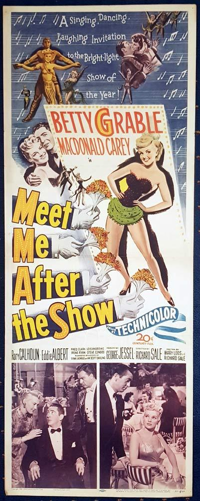 MEET ME AFTER THE SHOW Movie Poster Betty Grable US Insert