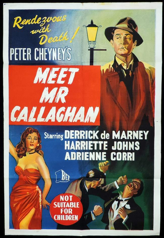 MEET MR CALLAGHAN Original One sheet Movie Poster Derrick De Marney Slim Callaghan Peter Cheney