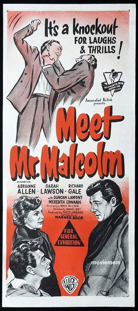 MEET MR MALCOLM Original Daybill Movie Poster Adrianne Allen Sarah Lawson