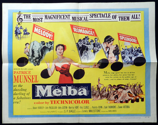 MELBA 1953 US Half Sheet Dame Nellie Melba Movie Poster A