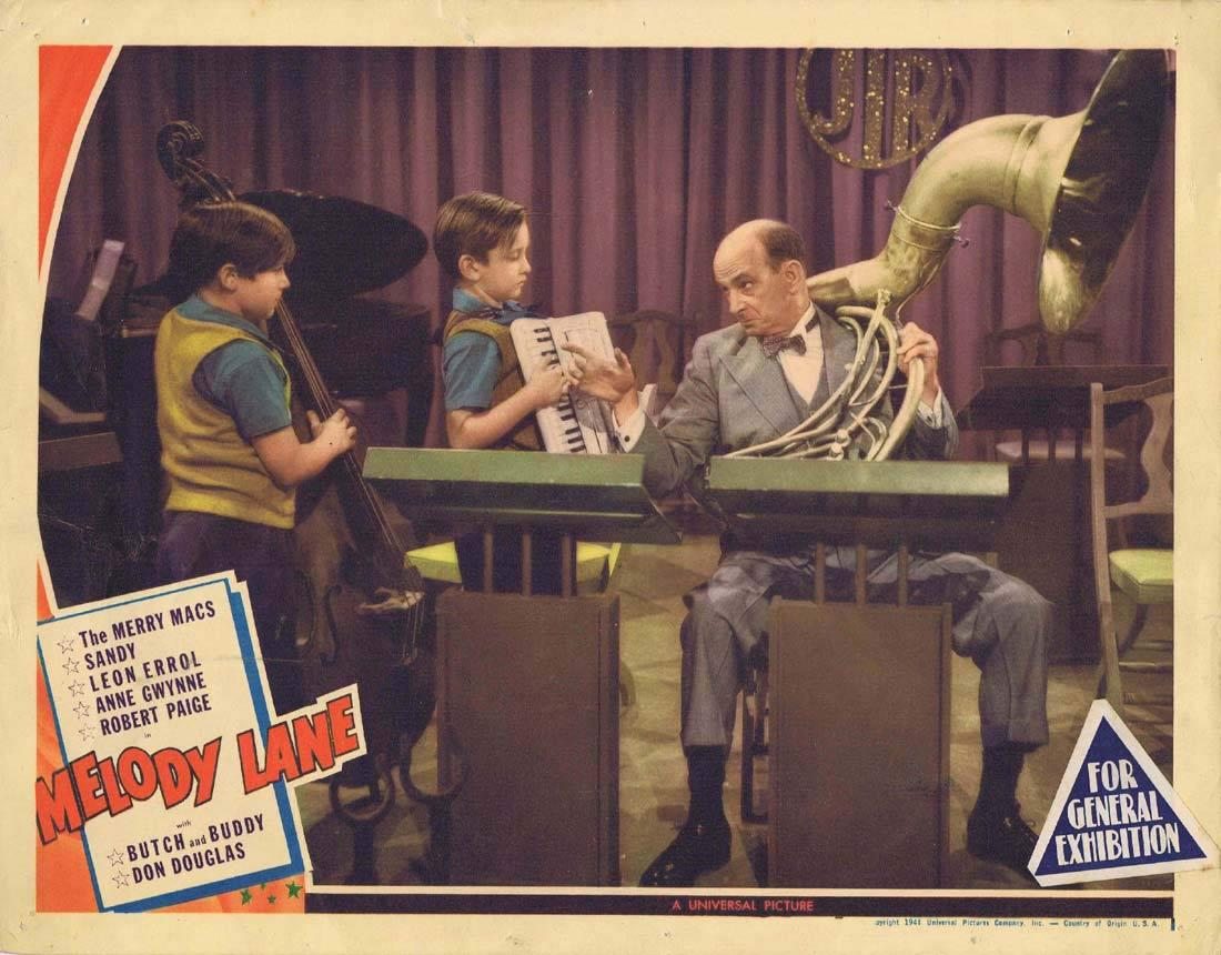 MELODY LANE Lobby Card 2 Leon Errol Baby Sandy The Merry Macs Robert Paige