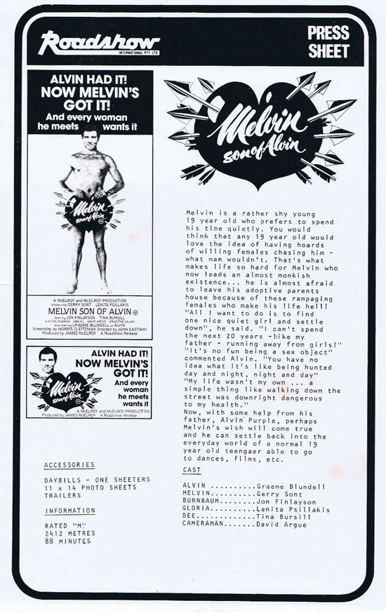 MELVIN SON OF ALVIN Rare AUSTRALIAN Movie Press Sheet