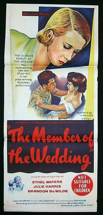 THE MEMBER OF THE WEDDING Movie Poster 1952 Julie Harris Australian Daybill