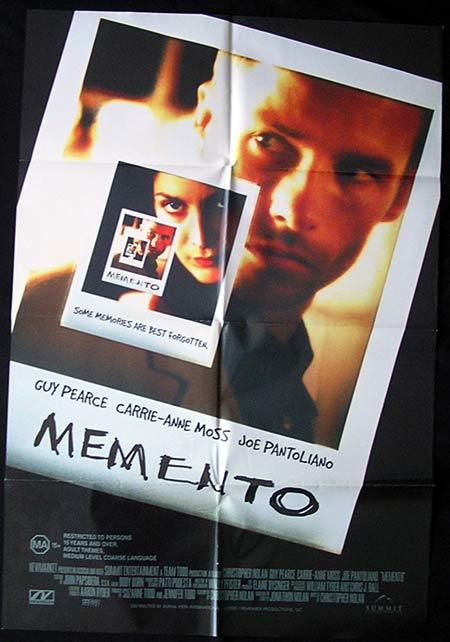 MEMENTO Original Movie Poster 2000 Guy Pearce Australian one sheet