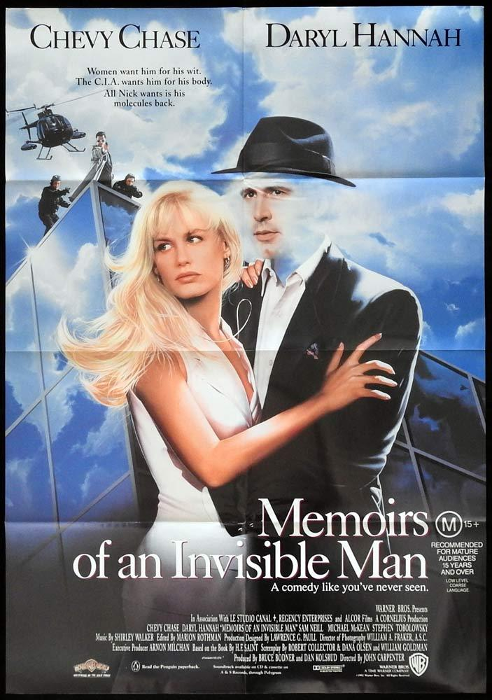 MEMOIRS OF AN INVISIBLE MAN One sheet Daybill Movie poster Chevy Chase Daryl Hannah