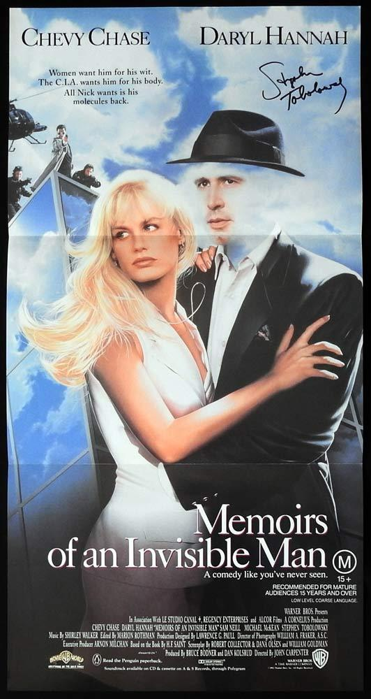 MEMOIRS OF AN INVISIBLE MAN Daybill Movie Poster AUTOGRAPH Stephen Tobolowsky
