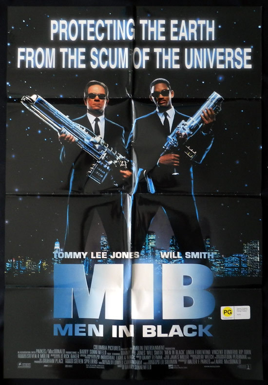 MEN IN BLACK Original One sheet Movie poster Tommy Lee Jones Will Smith